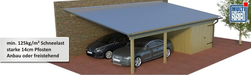 multi pultdach carports die starken carports mit 125kg m mit seitlichem gef lle zum anbau. Black Bedroom Furniture Sets. Home Design Ideas