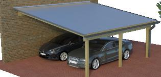 Multi-Pultdach-Carport als Doppelcarport