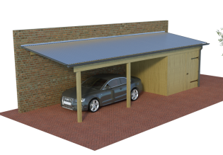 multi pultdach carports die starken carports mit 125kg m mit seitlichem gef lle zum anbau. Black Bedroom Furniture Sets. Home Design Ideas