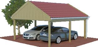 Multi-Satteldach als Doppelcarport