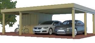 Multi-Carport mit halben setilichem Abstellraum / Schuppen