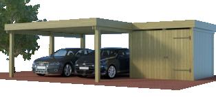 Multi-Carport mit setilichem Abstellraum / Schuppen als Winkelbau