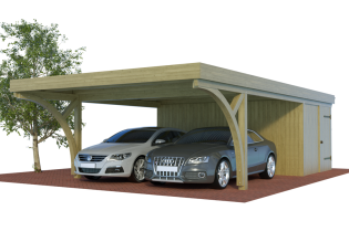 QUADRO-Bogen-Doppelcarport mit Abstellraum/Schuppen