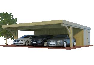 QUADRO-Bogen-Dreiercarport mit Abstellraum/Schuppen