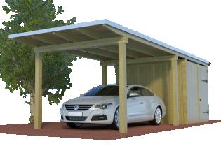 QUADRO-Design-Einzelcarport mit Abstellraum/Schuppen