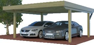 Quadro-Carport als Doppelcarport