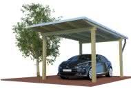 QUADRO-Design - Die Carports mit 4 Pfosten, Holzdach und schlanker Zinkblende